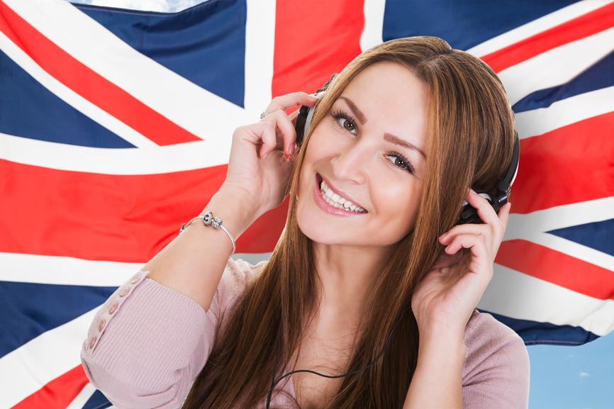 Woman Listening English Language Audiobook